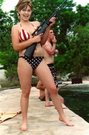 Sarah Palin Bikini Photo. Sarah Palin: Gun toting,